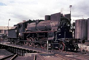 Hamar Station - Class 26c steam locomotive on the turntable at Hamar in 1970