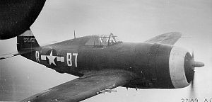 "361st Fighter Group - Republic P-47D-11-RE Thunderbolt 42-75452 ""Tika"" (B7-R) of 1st Lt Vernon R. Richards in the 374th Fighter Squadron."