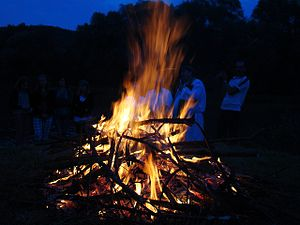 Bonfire - Midsummer fire (sobótka) at San (river), (Poland).