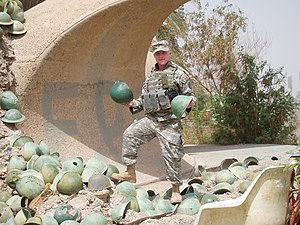 Victory Arch - An American soldier posing with the historical helmets