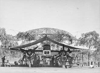 RAAF Base Townsville - Servicing party working on a DAP Beaufort bomber aircraft of No. 7 Squadron RAAF