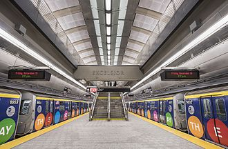 86th Street (Second Avenue Subway) - Platform level, with two specially designed R160 Q trains