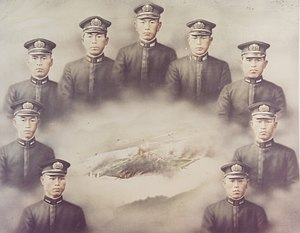 Consequences of the attack on Pearl Harbor - Japanese depiction of nine midget submarine crewmembers lost during the attack, excluding the POW, Kazuo Sakamaki
