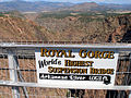 A366, Royal Gorge Bridge, Colorado, USA, sign with 1053 ft, 2008.JPG