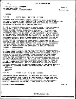 Alianza Americana Anticomunista - US Embassy document detailing the formation of the AAA under the BINCI of the Colombian National Army