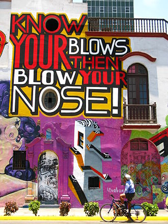 Word play - Artist Tavar Zawacki painted a site-specific wordplay painting in Lima, Peru, commenting on the cocaine crisis and exportation
