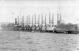 USS Nereus (AC-10) - USS Nereus AC-10  loading coal at Nagasaki, Japan in April 1916.