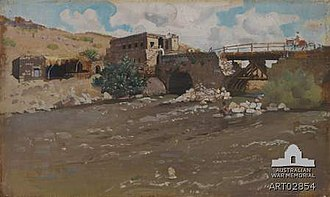 Capture of Damascus - George Lambert's painting of the repaired bridge at Jisr Benat Yakub showing the buildings at the western end in 1919