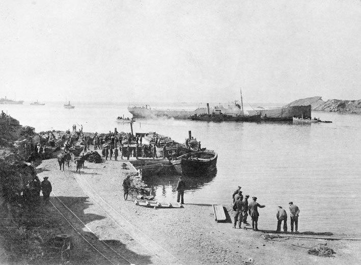 AWM P01326.008 - RAN Bridging Train creating breakwater at Suvla Bay, September 1915