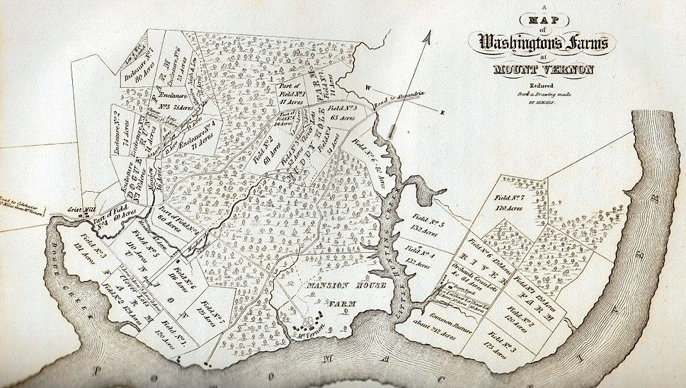 A Map of Washington%27s Farms at Mt. Vernon (1830 engraving)