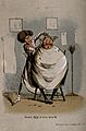 A barber cutting a man's hair. Coloured etching. Wellcome V0019659.jpg