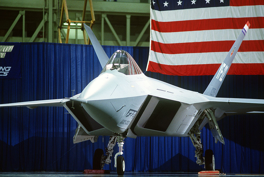 A close-up left front view of a prototype YF-22 Advanced Tactical Fighter (ATF) aircraft DF-ST-91-03066