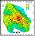 A depth structural map showing hydrocarbon-bearing anticlinal structures with faults juxtaposed on them (the faults throw towards the SW)- 2013-10-26 12-15.png