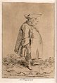 A fat man wearing a coat and hat is standing with his hand i Wellcome V0040053.jpg