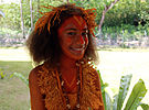 A girl in traditional Renbell dress at the Commonwealth Youth Program (CYP) offices in Honiara. (10662170523).jpg