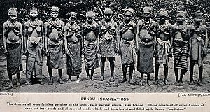 Fetishism - Image: A group of Bundu female dancers all wearing necklaces of bea Wellcome V0015968