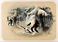 A huntsman is enveloped by a sudden fall of snow from an ove Wellcome V0023230.jpg
