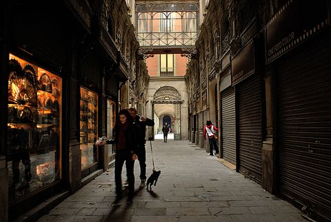 passage in the Gothic quarter of Barcelona Catalonia Spain