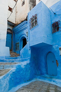 One of the many blue-painted streets