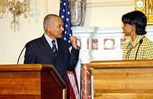 Ahmed Aboul Gheit et Condoleezza Rice, le 15 février 2005