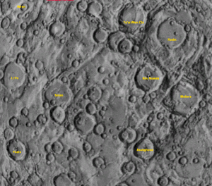 Abu Nuwas (crater) - Black and white illustration of an area on Mercury including Abu Nuwas, from Mariner 10 imagery.