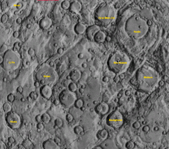 Rodin (crater) - A black and white screenshot of an area on Mercury including Rodin, from Mariner 10 imagery.