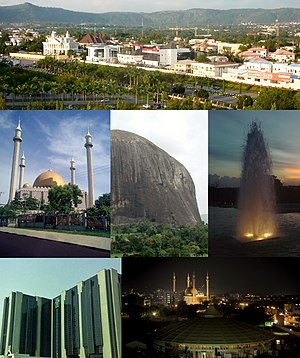 From top (L–R): View of a street in Maitama District, Abuja National Mosque, Zuma Rock, fountain in Millennium Park, Central Bank headquarters, and skyline of CBD at night