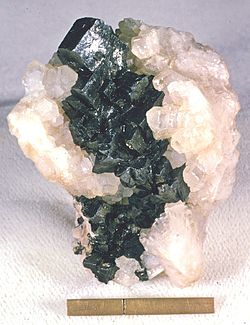 Acanthite on Calcite - Freiberg, Erzgebirge, Saxony, Germany.jpg