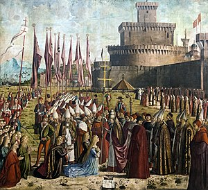 Ermolao Barbaro - Vittore Carpaccio. Life of S.Ursula: The Pilgrims Meet the Pope. Barbaro - in red in centre