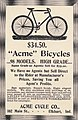 "Acme Bicycles ($34.50), Acme Cycle Company, 102 Main Street, Elkhart, Indian- ""98 models"" in 1898 ad detail, from- Virginia Tech Bugle 1898 (page 232 crop).jpg"