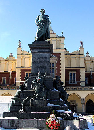 Culture of Poland - Monument to Adam Mickiewicz, one of the greatest Polish poets, at the Main Market Square in Kraków
