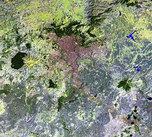 Addis Ababa - Addis-Ababa and vicinities (false colors satellite image): it is an urbanization strip connecting Addis Ababa and Debre Zeyit city (at image right bottom corner)