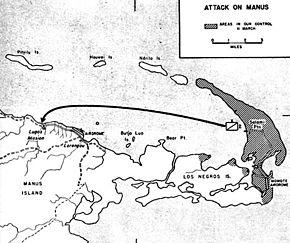 Mapa ukazuje, jakie partie Los Negros znajdowały się 15 marca w rękach Amerykanów. Strzałka pokazuje kierunek ataku.