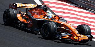 Adrian Sutil - Sutil driving Spyker F8-VII B at the 2007 Brazilian Grand Prix, Spyker's last race