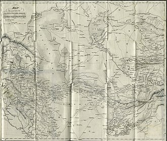 The Great Game - Map of northern Persia and northern Afghanistan in 1857 showing Khiva, Bukhara, and Kokand that form modern Turkmenistan and Uzbekistan