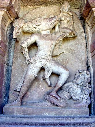 Varaha Upanishad - Vishnu in a boar (Varaha) avatar rescues Bhudevi (earth)
