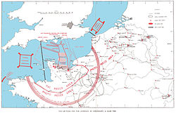 A map of southern Britain, northern France and Belgium, marked with the routes the Allied air and naval invasion forces used in the D-Day landings, areas where Allied aircraft patrolled, locations of railway targets that were attacked, and areas where airfields could be built