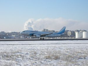 Belgorod International Airport - Yamal Airlines Airbus A320 taking off at Belgorod Airport.