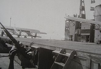 Japanese aircraft carrier Akitsu Maru - Ki-76 spotter planes on deck of Akitsu Maru