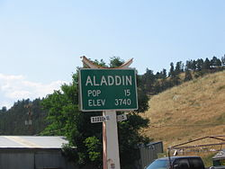Aladdin, Wyoming population sign