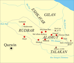 Nizari Ismaili state - Location of several of the Ismaili castles in the regions of Alamut and Rudbar of Persia.