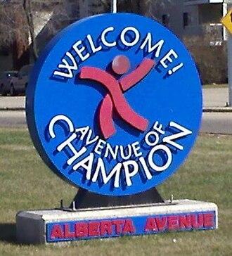 Alberta Avenue, Edmonton - Alberta Avenue welcome sign at 101 Street