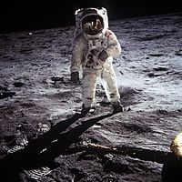 Buzz Aldrin poses on the moon, allowing Neil Armstrong to photograph both of them using the visor reflection. (NASA)