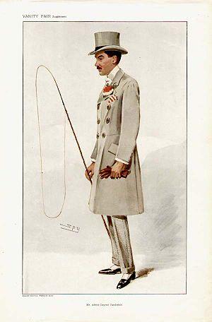 Alfred Gwynne Vanderbilt I - Vanderbilt caricatured by Spy for Vanity Fair, 1907