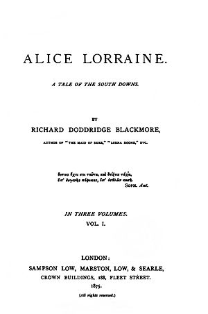 Alice Lorraine - First edition title page
