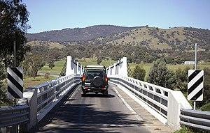 Tharwa Bridge - Looking at the Tharwa Bridge, showing the single lane