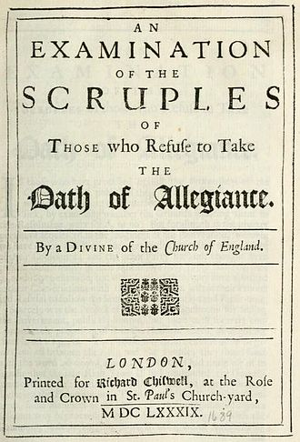 Pierre Allix - Title page of An Examination of the Scruples of those who refuse to take the Oaths, 1689