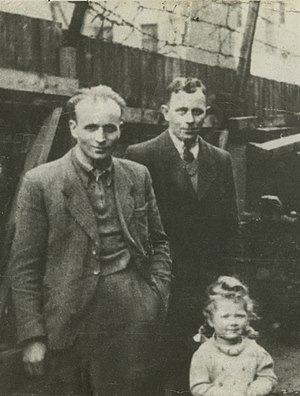 Sambor Ghetto - (L. to r.) Polish Righteous Alojzy Plewa, his brother Feliks, and Ruth Schwarz rescued from the Sambor Ghetto, 1942