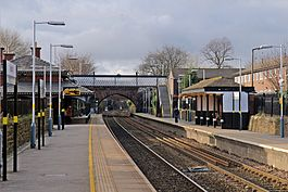 Along the platform, Rainhill railway station (geograph 3819320).jpg