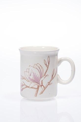 """Crown Lynn - """"Magnolia Moon"""" pattern on a Crown Lynn mug."""